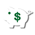 piggy bank and dollar sign icon