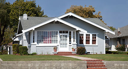 modest grey house