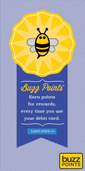 Buzz Points bee logo on an award ribbon